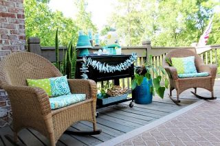 Party on the deck with clay pot serving pieces