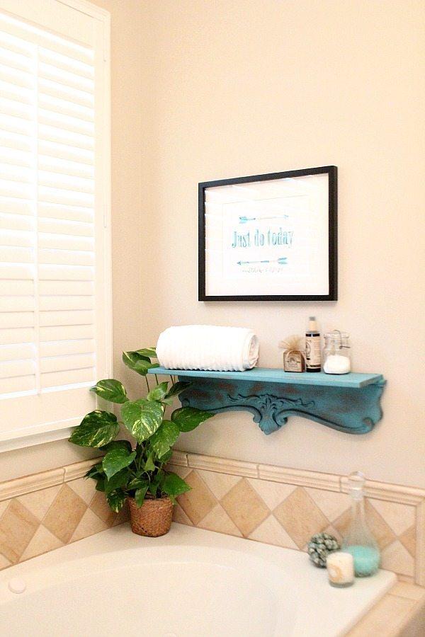 Repurposed bath shelf with Krylon Chalky Finish paint