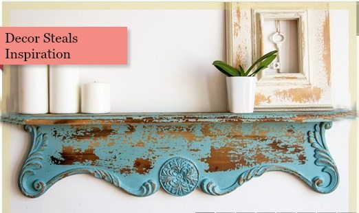 Shelf inspired by Decor Steals, Repurposed Shelf with Krylon Chalky Spray Paint