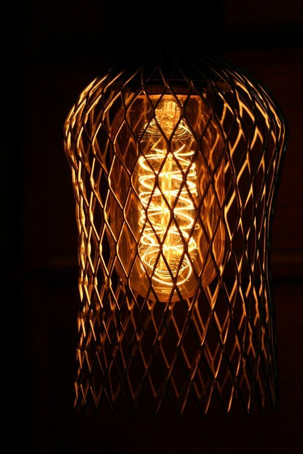DIY Industrial cage light with Edison Bulb