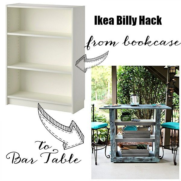 IKEA Billy Bookcase into a bar table