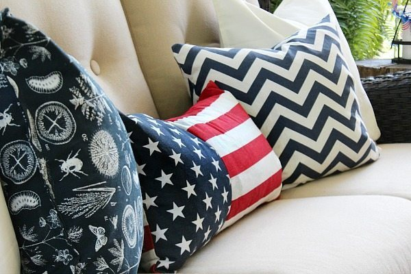Pillows Red, White and Blue from HomeGoods and Ikea