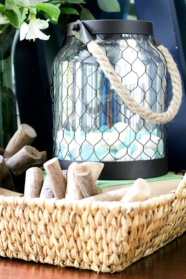 Summer tray lantern with beach glass