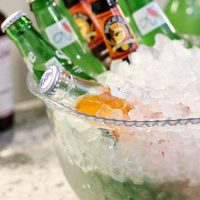 Bowls filled with ice for serving bottled drinks