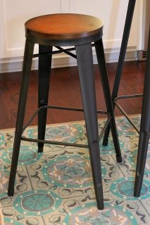 Metal and wood barstools for the basement