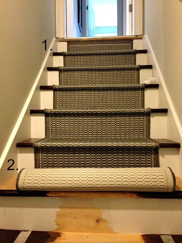 Steps with runner rugs
