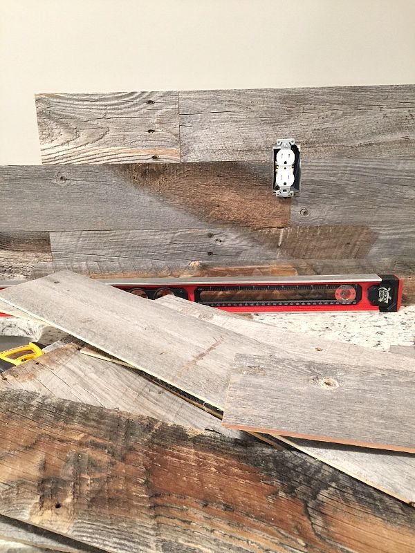 How to install a Barn wood wall around the socket at RefreshRestyle.com