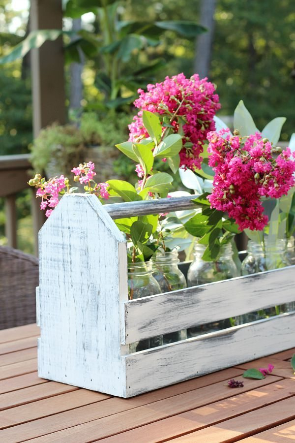 Farmhouse centerpiece with a wood tool box