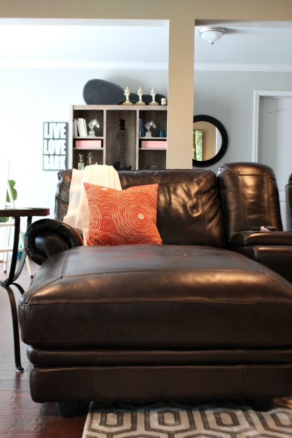 Cozy spot with an awesome orange BHG at Walmart pillow #sp at refreshrestyle.com