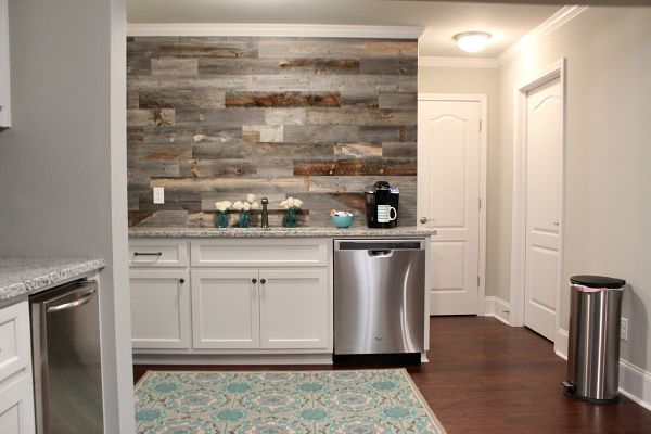 Finished wall in the basement kitchen with barn wood, one afternoon, real wood. No nails required, peel and stick at RefreshRestyle.com