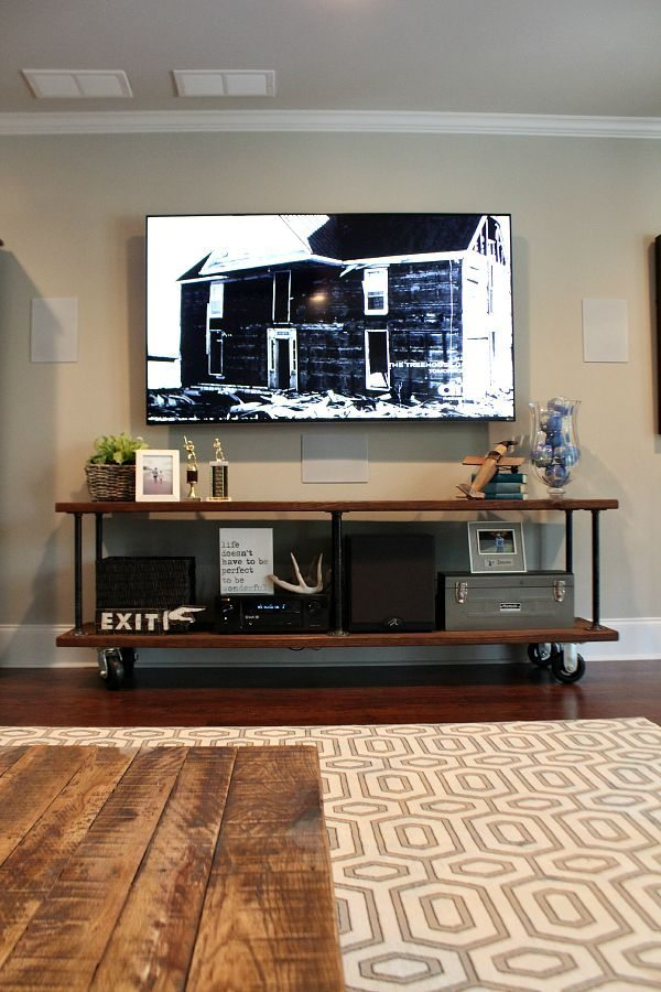 living room diy projects. Industrial tv console easy DIY instructions at refreshrestyle com Living Room  Family Ideas Refresh Restyle