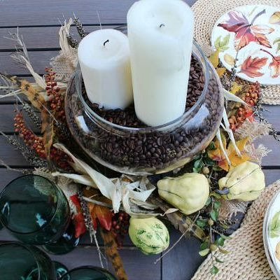 Nature inspired, candles, coffee beans centerpiece idea at refreshrestyle.com