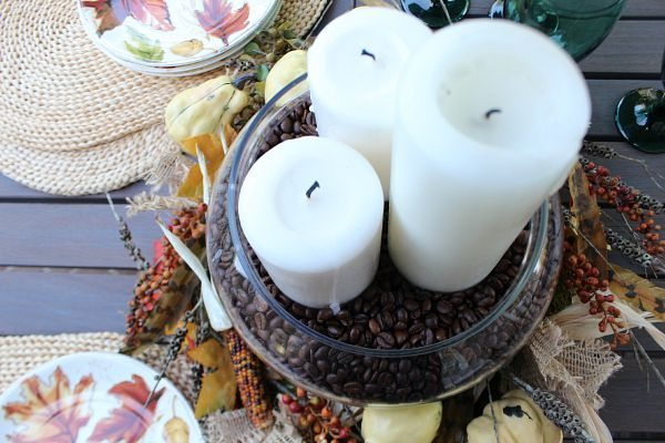 Place candles in coffee beans for a perfectly scented centerpiece at refreshrestyle.com