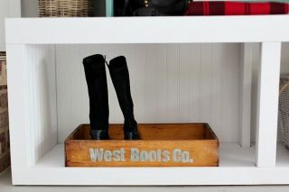 Pull your boots off and stay a while, boot tray in the mud room personalized old drawer upcycled at refreshrestyle.com