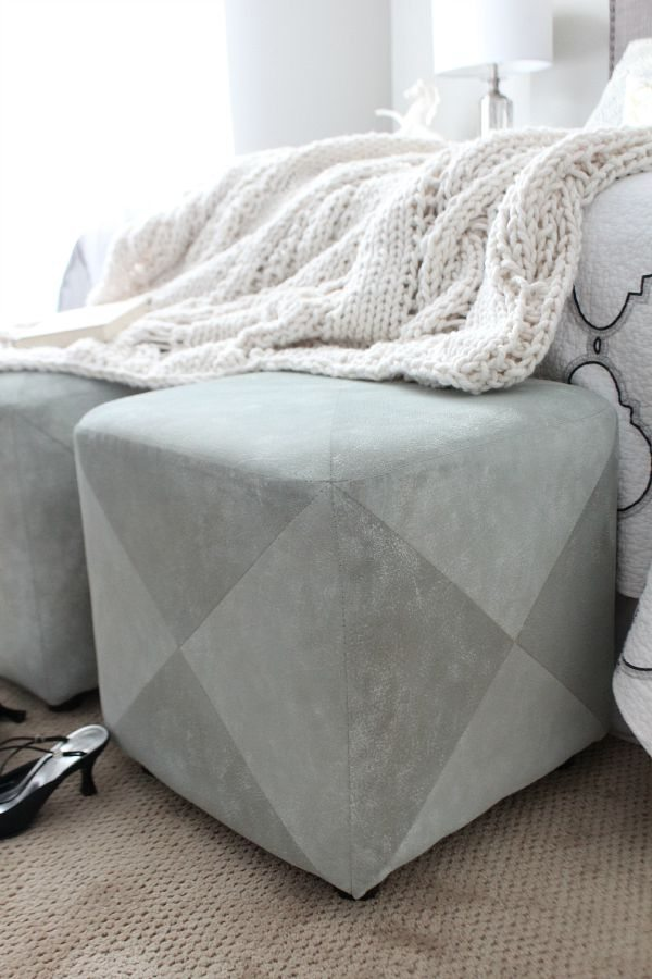 Spray chalk paint to create a new look for upholstered ottoman at refreshrestyle.com