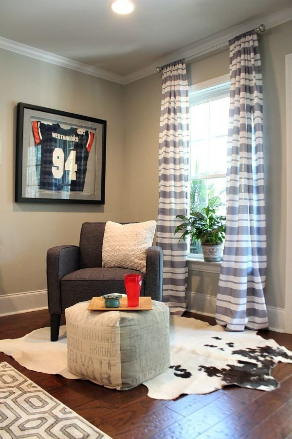 Striped curtains BHG at Walmart #sp in basement space at refreshrestyle.com