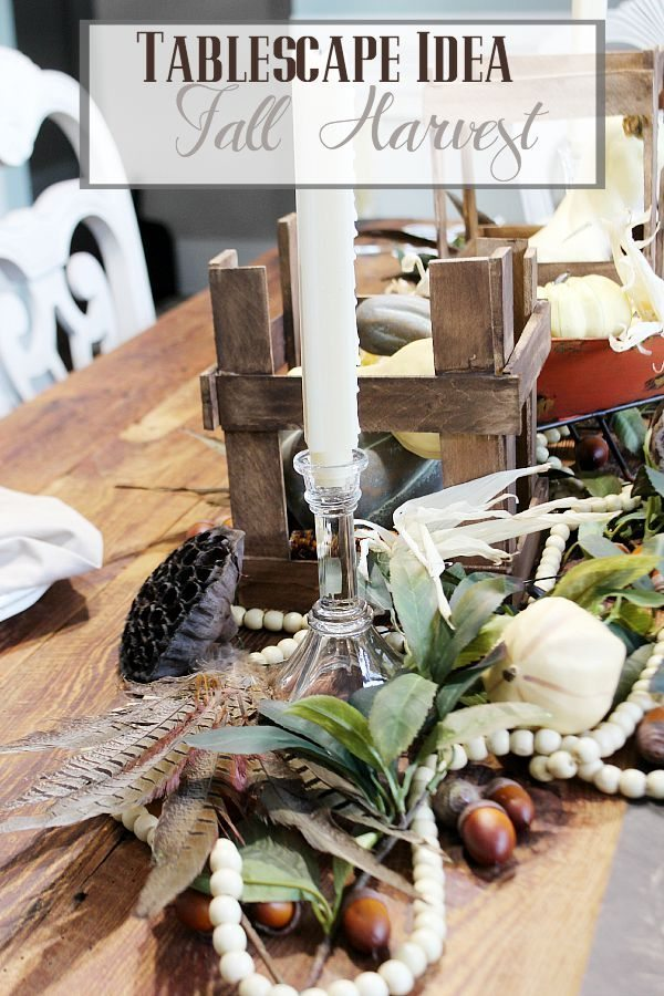 Tablescape Idea a Fall Harvest neutral colors refreshrestyle.com