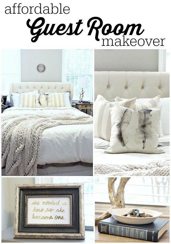 Calming and Affordable guest room makeover at refreshrestyle.com