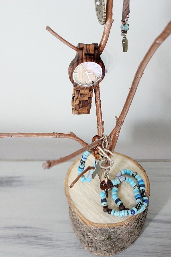 Beautiful wood watch and tree branch jewelry holder for Tree branch jewelry holder