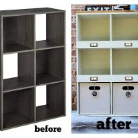 Before and after of a laminate storage cube makeover at refreshrestyle.com