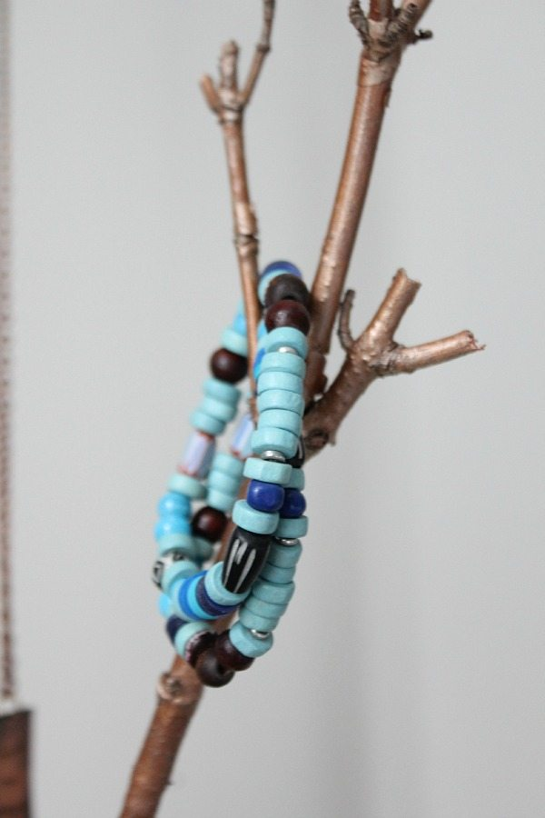 Blue bead bracelets, I love to layer with my Wood Watch at refreshrestyle.com