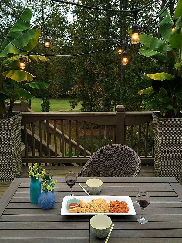 Dining under the patio lights, a quick and easy meal at refreshrestyle.com