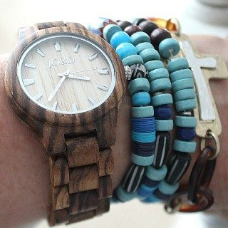 Jord Wood Watch layered with wood bead bracelets refreshrestyle.com