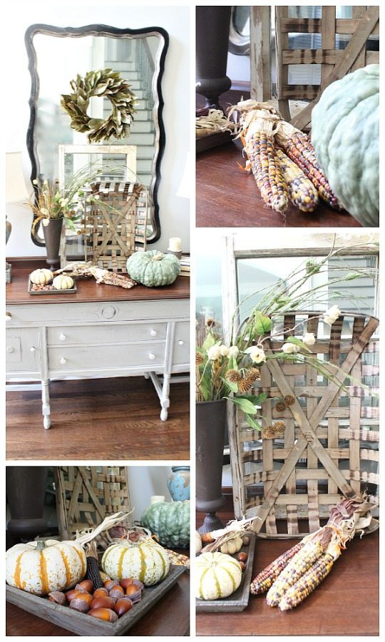 Neutral and Natural Fall Decor in the Entry refreshrestyle.com
