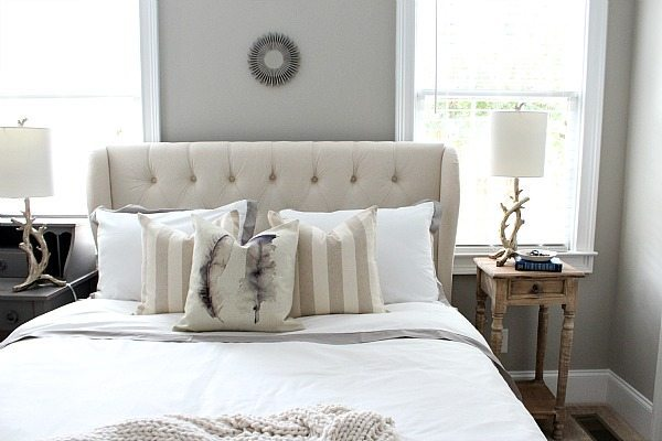 Frugal guest bedroom makeover with upholstered headboard from Walmart refreshrestyle.com