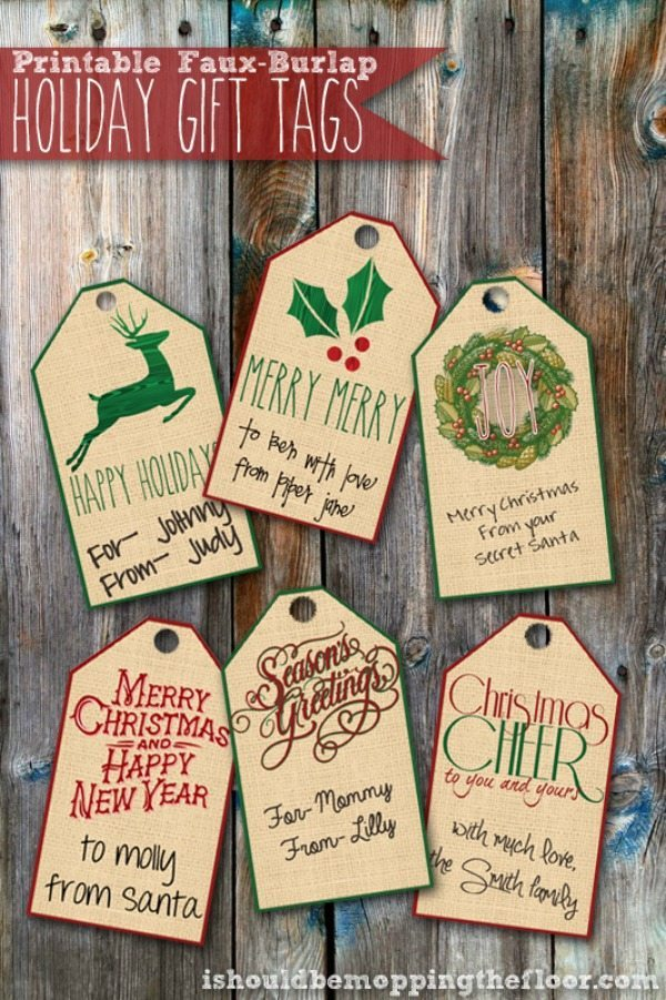 01 - I Should Be Mopping the Floor - Faux Burlap Gift Tags