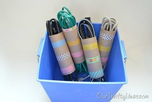 11 - Our Thrifty Ideas - Cord organization