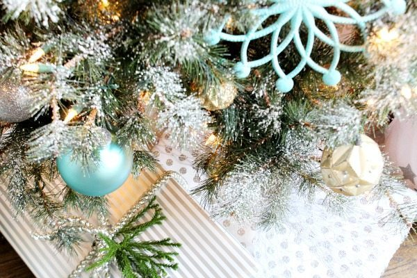 Balsam Hill Christmas Tree in turquoise and metallics