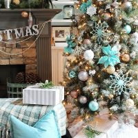 Balsam Hill Christmas tree in blues, golds, copper and more ideas!
