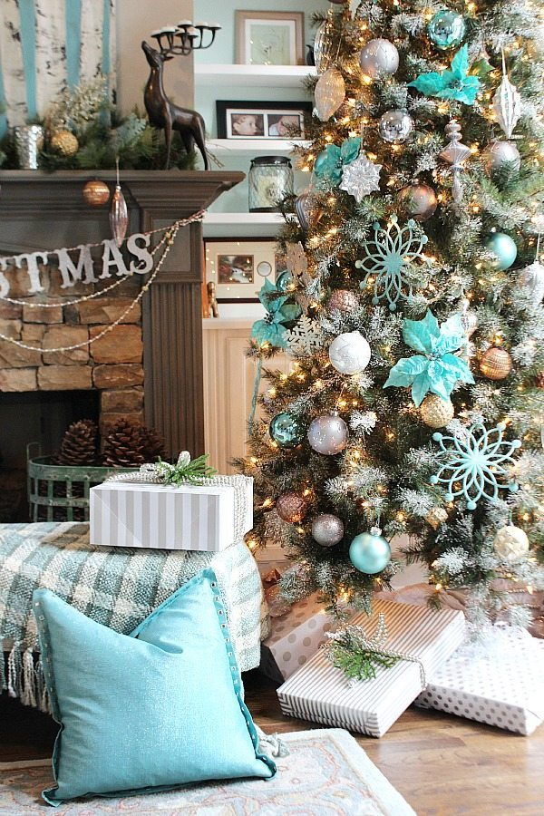 balsam hill christmas tree in blues golds copper and more ideas - Teal And Gold Christmas Decorations