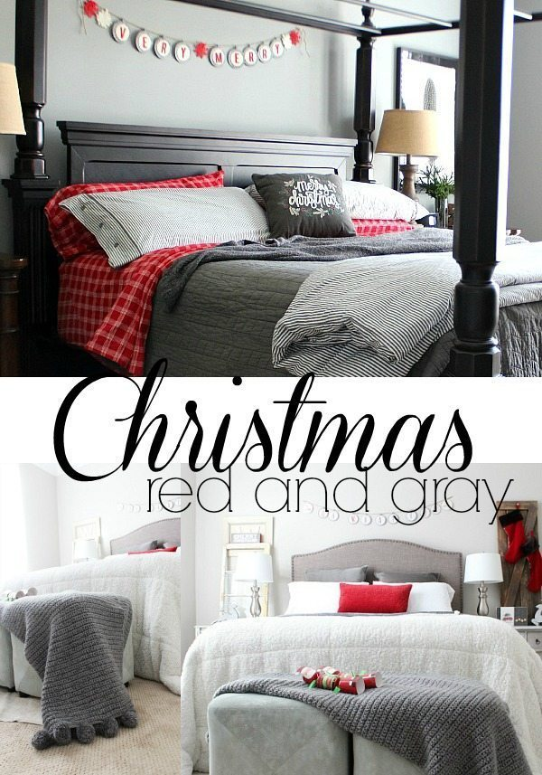Bedrooms in red and gray for Christmas