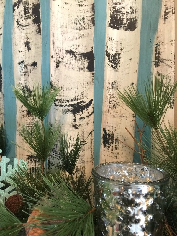 Birch wood trees hand painted for Blue Christmas at Refresh Restyle
