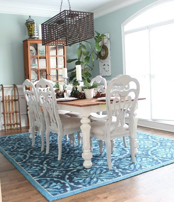Blue Dining room Christmas home tour at Refresh Restyle