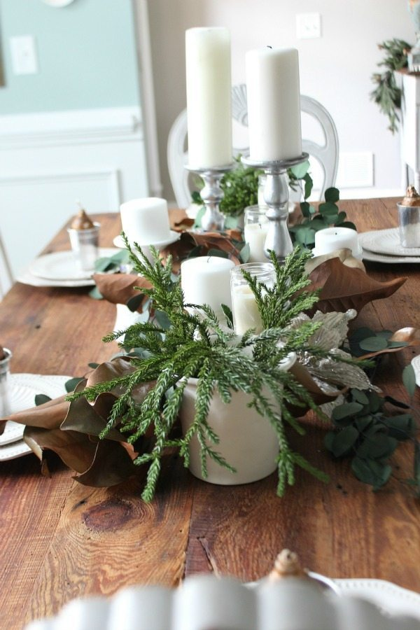 Candles and greenery on the Christmas Table at refresh restyle