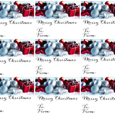 Christmas Gift Tags Silver and Red