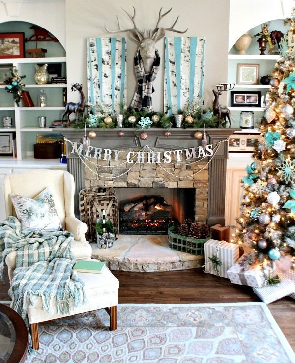 Christmas Mantel with hand painted birch trees