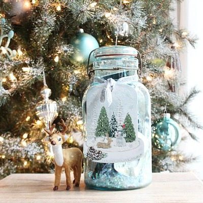 Christmas gift idea - aqua mason jar filled with gifts