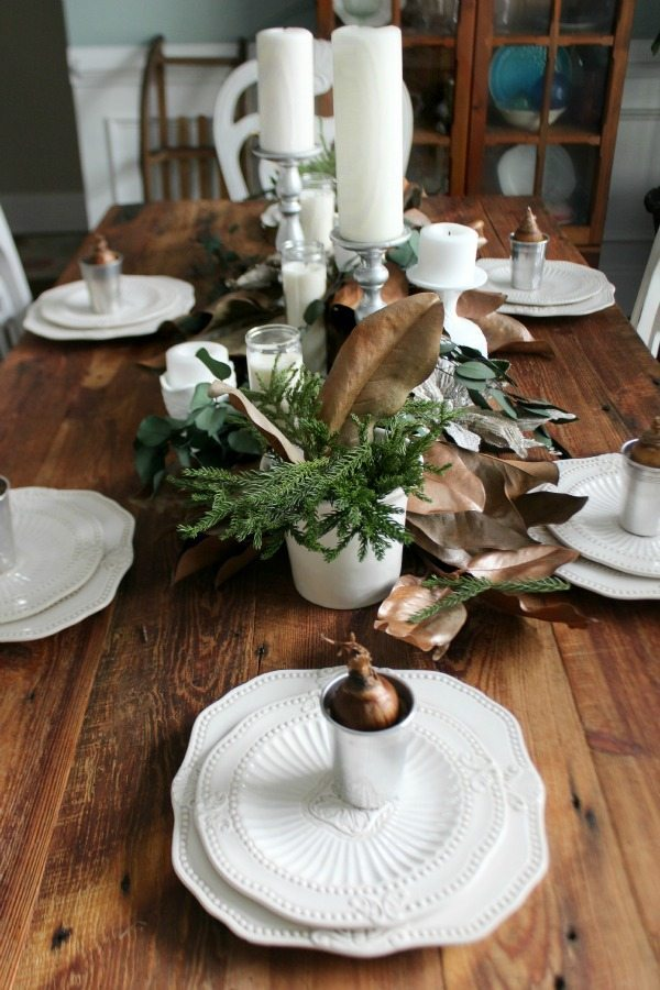 Dining Room set with natural and creams for Christmas at Refresh Restyle
