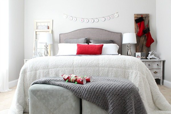 Guest Room with velvet soft bedding perfect for Christmas