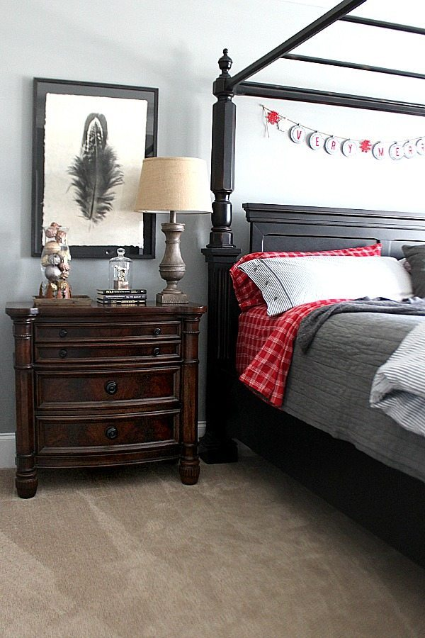 Large Feather art Master bedroom Christmas tour at Refresh Restyle