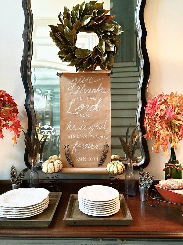 Magnolia Wreath and Give Thanks Scroll for the Thanksgiving Buffet