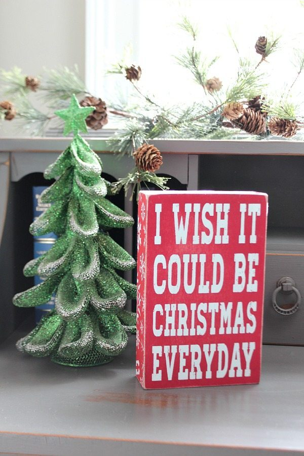 On the nightstand in the guest room I wish it could be Christmas everyday at Refresh Restyle