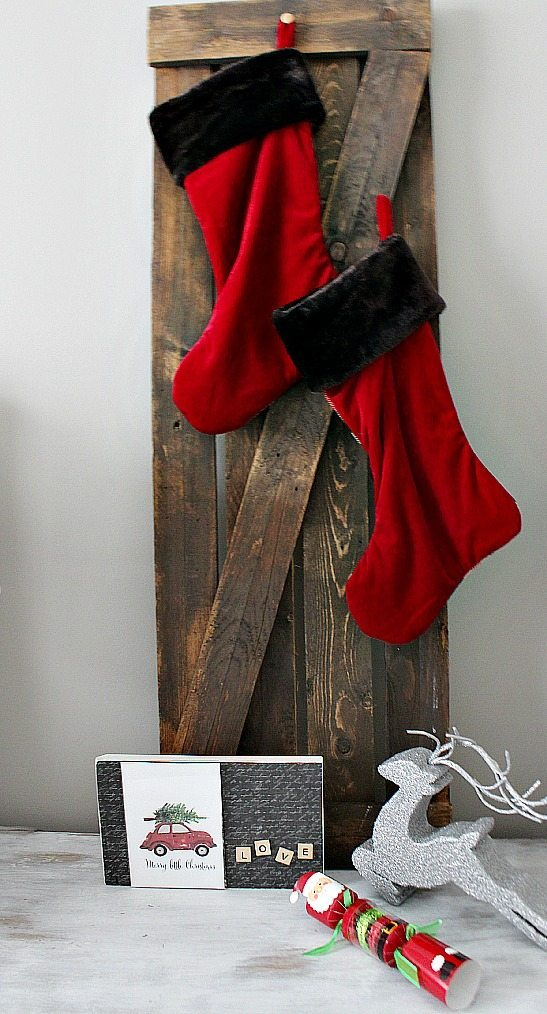 Stocking hung by the bed in the guest room