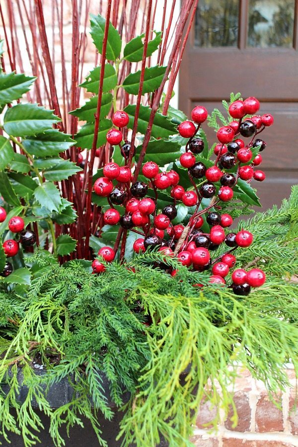 Winter filler for flower pots found in the garden with the addition of faux berries