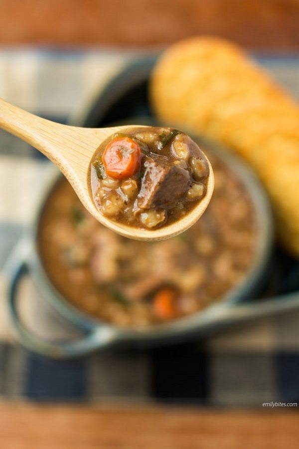 10 - Emily Bites - Slow Cooker Beef and Barley Soup