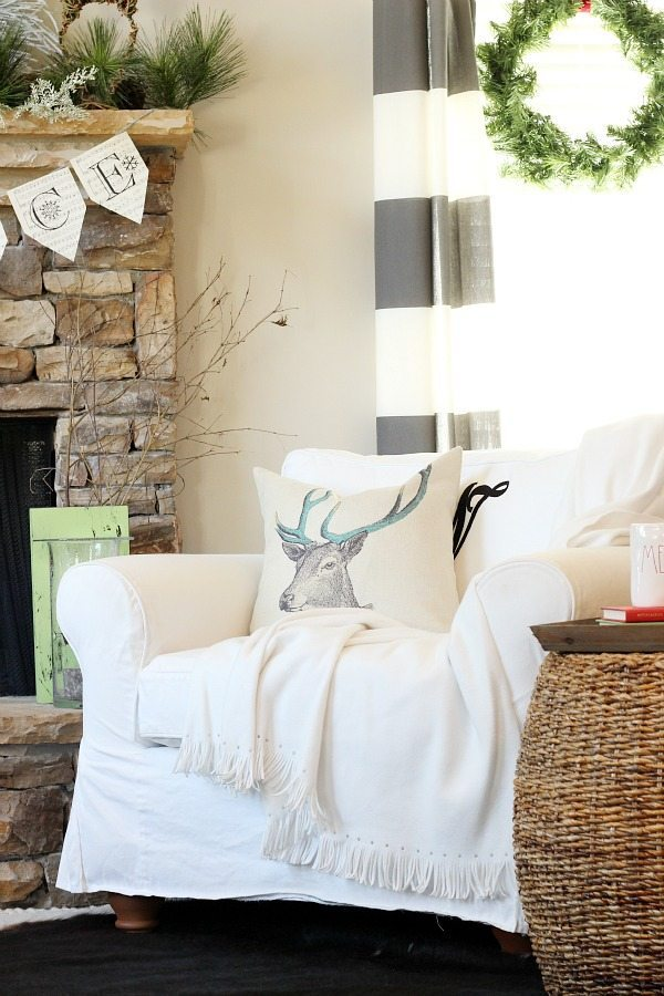Deer pillow in the family room refresh restyle Christmas Home Tour